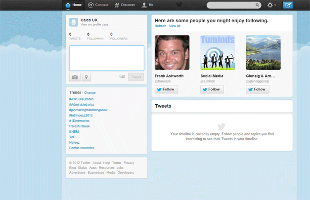 Twitter set-up. What your account first looks like and where the buttons are