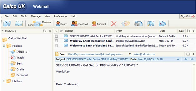 Webmail Messages View